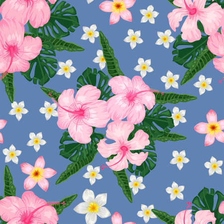 Seamless pattern with pink hibiscus and plumeria on blue background