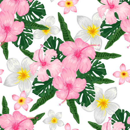 Seamless pattern with pink hibiscus and plumeria on white background