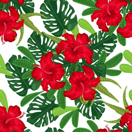 Seamless pattern with red hibiscus and palm leaves on white background