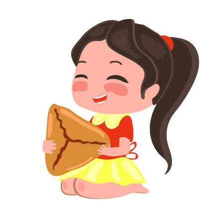 Girl in a skirt eats samosa with pleasure. Illustration with Asian food.