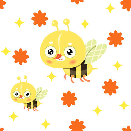 Seamless pattern with white background. Childish pattern with bees
