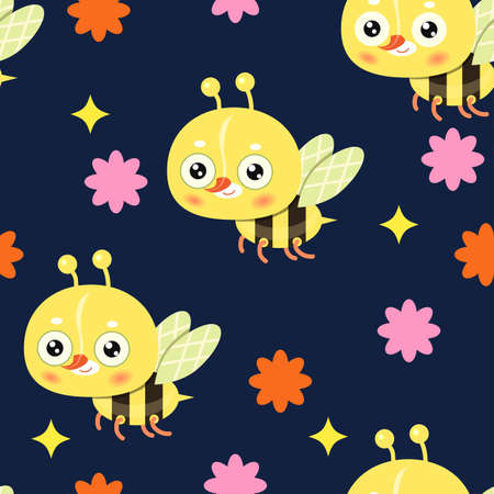 Seamless pattern on blue background. Childish pattern with bees