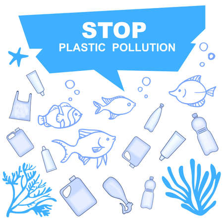 Stop pollution of water bodies with plastic containers. Underwater inhabitants and the pond.