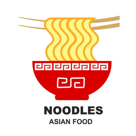 Asian noodles on a white background. 向量圖像
