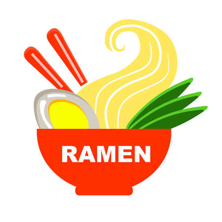 Ramen in a large plate on a white background.