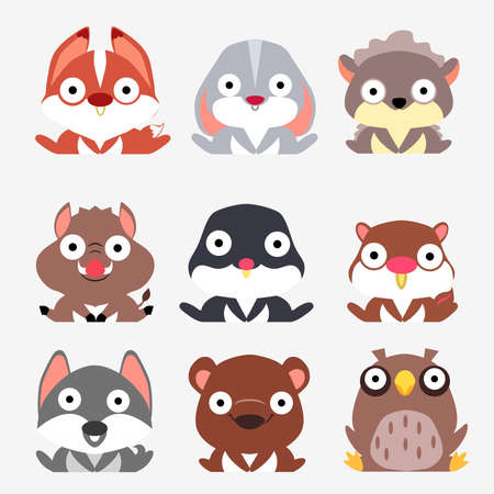 Stylized set of cute forest animals. Fox, hare, hedgehog, mole, mole, squirrel, wolf, bear and owl are sitting on white background.