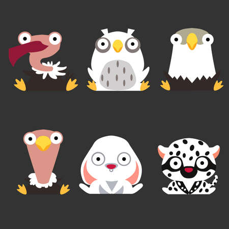 Set of cute animal and bird. Vulture, owl, eagle, ostrich, hare and white leopard are sitting on a dark background.