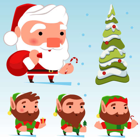 Set with Christmas characters and a Christmas tree. Santa Claus and three different elves. Designer Christmas characters. 向量圖像