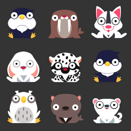 Set of cute stylized winter animals. Penguin, walrus, dog, hare, leopard, owl, Navy seal and Arctic Fox sit on a dark background. Illustration
