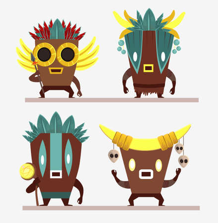 Set of cartoon characters. Aztecs with spear, skulls, feathers and staff isolated on white background. All elements are separated.
