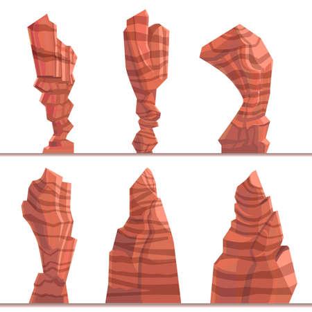 Set of brown game rocks