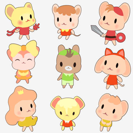 Set of cute colored little mouses. Kawaii mouse anime style isolated on white background.