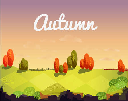Autumn landscape with trees, shrubs, meadows and fields. Game autumn background. 向量圖像