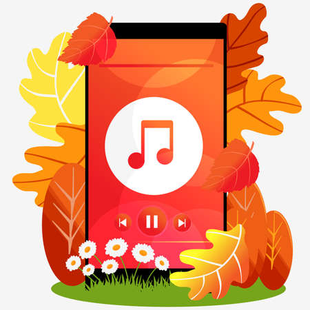 Mobile phone with autumn music. Autumn with colorful leaves. Ilustracja