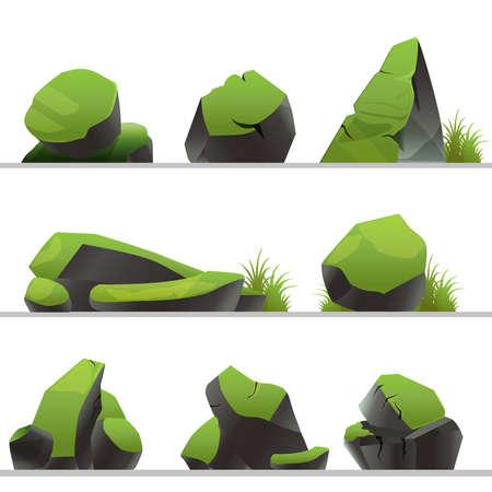 Satz Steine bedeckt mit Moos und Gras. Steine in verschiedenen Formen auf einem weißen Hintergrund.