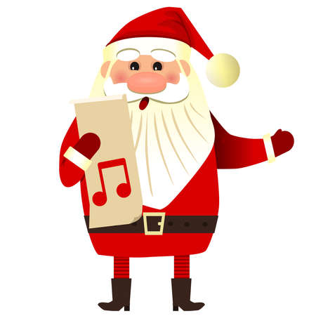 Santa Claus sings a song. Christmas songs with Santa Claus. Ilustracja