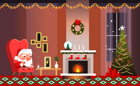 Christmas banner with fireplace, Christmas tree and Santa Claus. Santa Claus eats cookies and drinks milk.