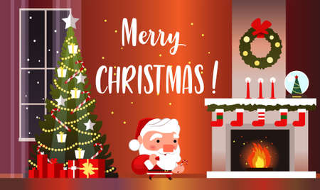 Christmas banner with fireplace, Christmas tree and Santa Claus. Illustration