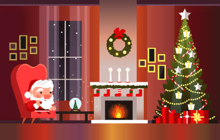 Christmas banner with fireplace, Christmas tree and Santa Claus. Santa Claus with a bag of gifts.