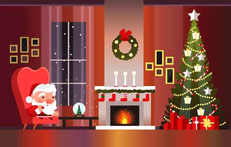 Weihnachtsbanner mit Kamin, Weihnachtsbaum und Weihnachtsmann. Weihnachtsmann mit einer Tüte Geschenke.