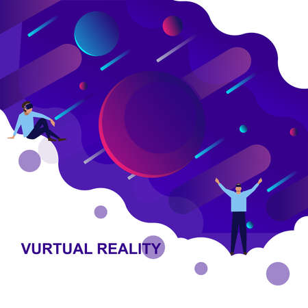 Banner virtual reality with space and people in virtual reality glasses.