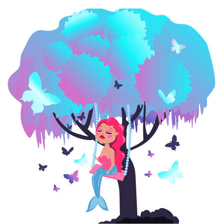 Mermaid with pink hair sits on a tree branch. Fabulous tree with butterflies and a mermaid.