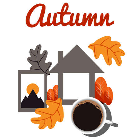 Cozy autumn with home, coffee and autumn leaves. Ilustracja