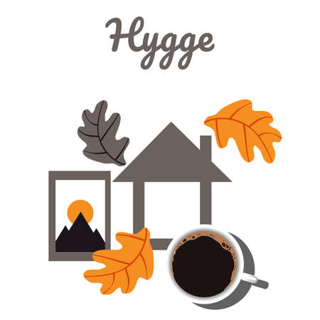 Hugge and comfort with home, coffee and autumn leaves. Scandinavian postcard.