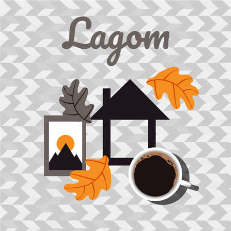 Lagom and cozy house with photo frame and coffee. Scandinavian postcard. Иллюстрация