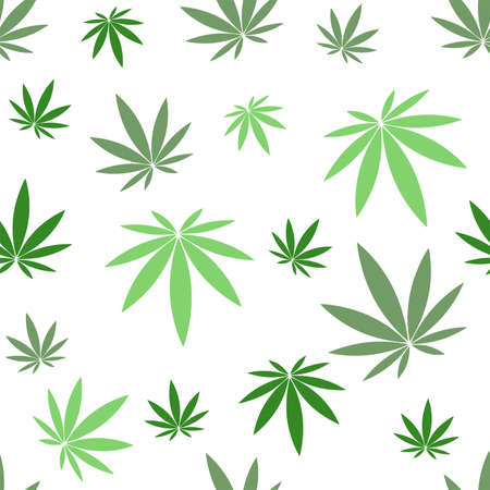 Seamless pattern with hemp on white background.