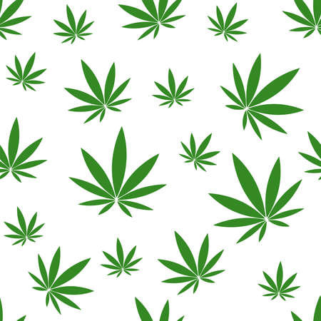 Seamless pattern with green hemp on white background.