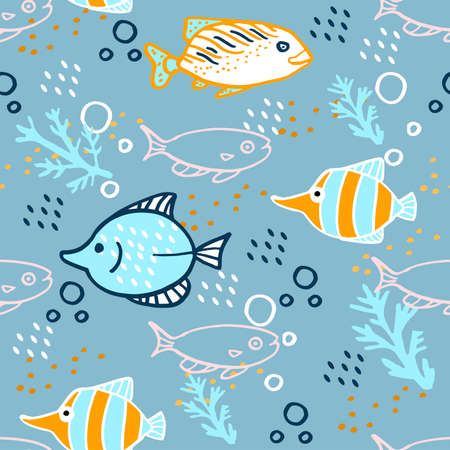 Seamless cartoon pattern with fish on blue background.