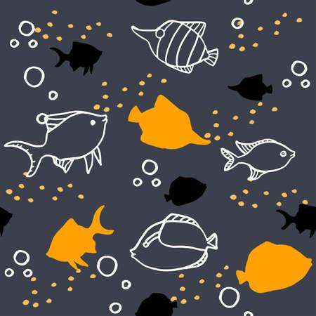 Seamless cartoon pattern with orange and white fish