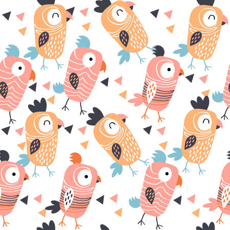 Pattern with cheerful orange parrots on white background.