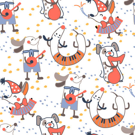Pattern with funny dogs with musical instruments. 向量圖像