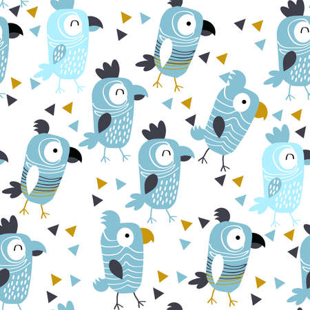Pattern with cheerful blue parrots on white background.