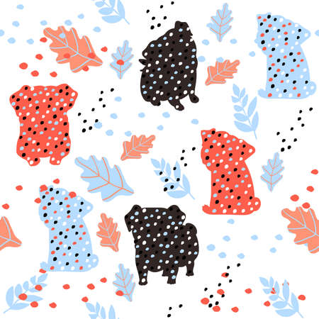 Cute seamless pattern with colorful pug silhouettes on white background.