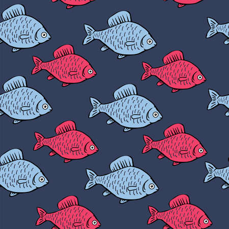 Seamless pattern with blue and pink fish on blue background. Cartoon background with fish.