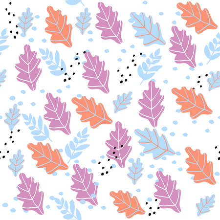 Autumn seamless pattern with orange and purple oak leaves. Cute pastel background.