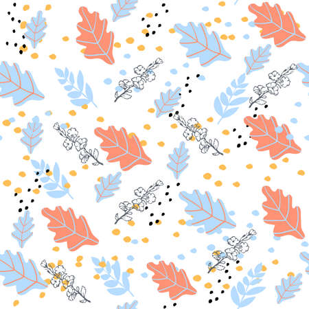 Autumn seamless pattern with orange and blue oak leaves. Cute pastel background. 向量圖像