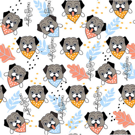 Cute seamless pattern with pug faces on white background.