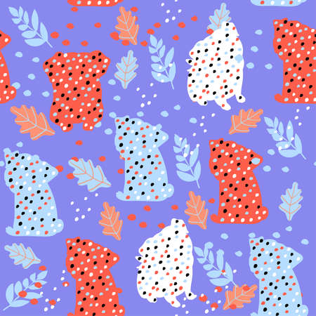 Cute seamless pattern with colorful pug silhouettes on blue background.