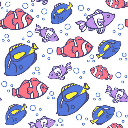 Seamless background with blue and pink ocean fish on blue background.