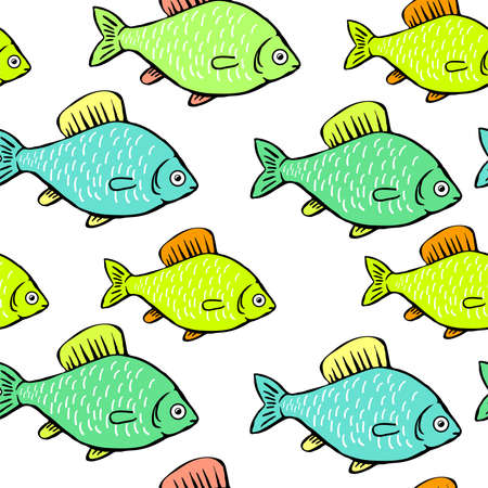 Green fish on a white background. Seamless background with blue and green fish.