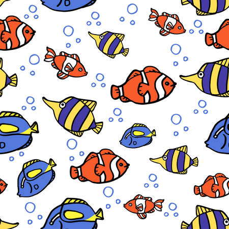 Seamless background with blue and pink ocean fish on blue background. Cartoon background with fish.