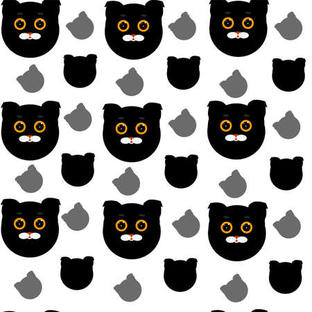 Seamless pattern with black cat heads on white background.