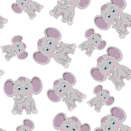 Cute gray elephants on white background. Seamless pattern with cartoon animals. 向量圖像