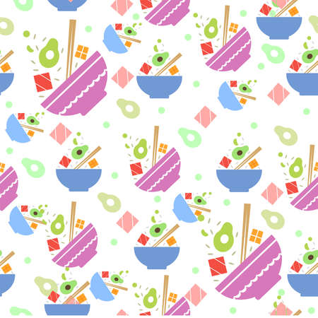 Multi-colored seamless pattern with poke bowl.