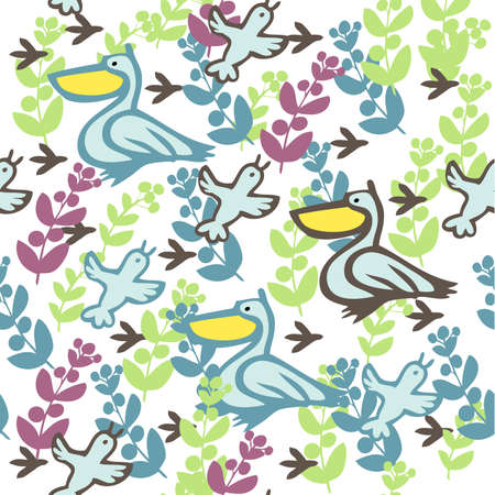 Multi-colored seamless pattern with birds and leaves.