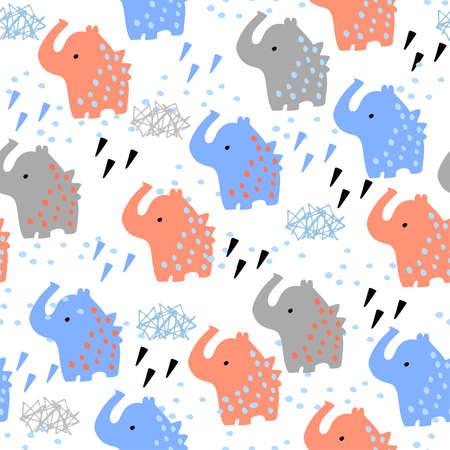 Childish fun seamless pattern with orange and blue elephants. Pattern for kids fashion. 向量圖像